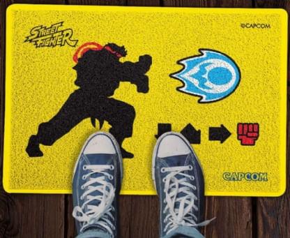 Capacho-Criativo---Street-Fighter---Hadouken---Amarelo